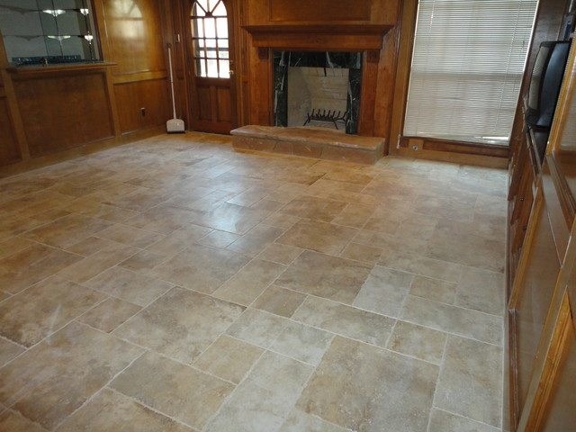Tile Marble Flooringtraditional Family Room Houston