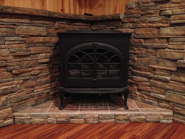 Tile Stone Work Traditional Family Room Bridgeport