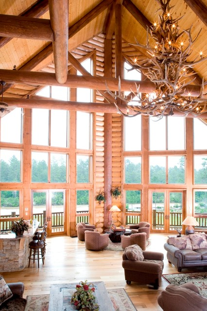 Example of a mountain style family room design in Other