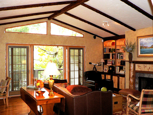 Timber faux beam ceiling design family room new york - Wood beams in living room ...