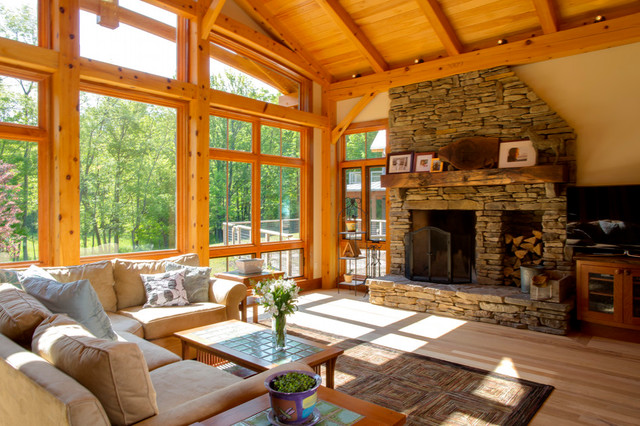 Timber frame great room modern family room new york for Timber frame great room
