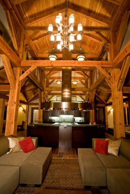 Timber Frame Great Room Modern Family Room Denver