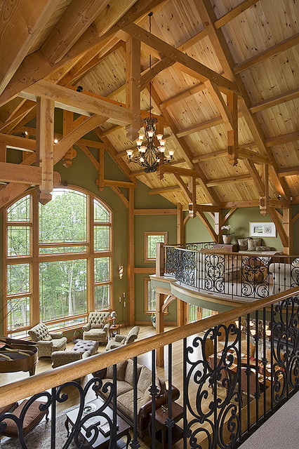 Timber Frame Great Room Contemporary Family Room