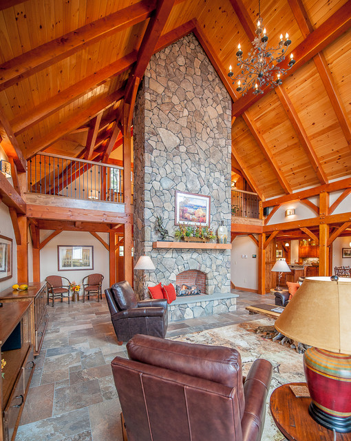 Timberframe lake house living room rustic family for All in the family living room