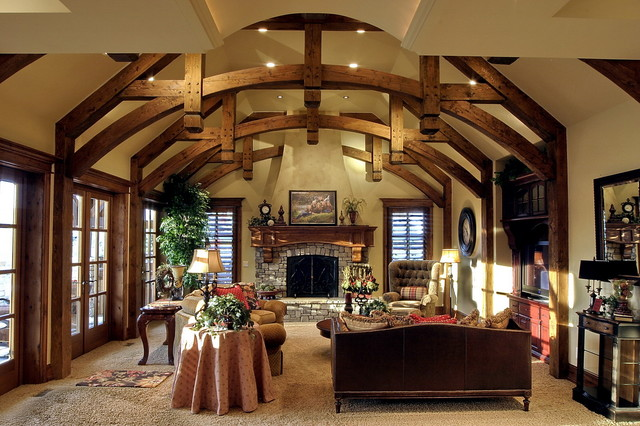 Timbers Trusses traditional-family-room