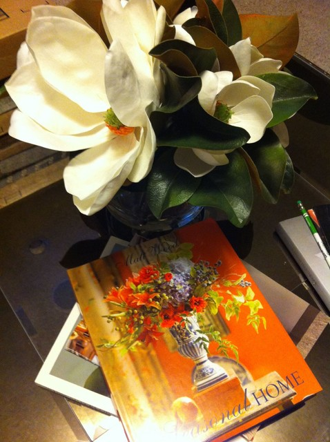 """Timeless Magnolias in Footed Glass Vase 20"""" contemporary-family-room"""