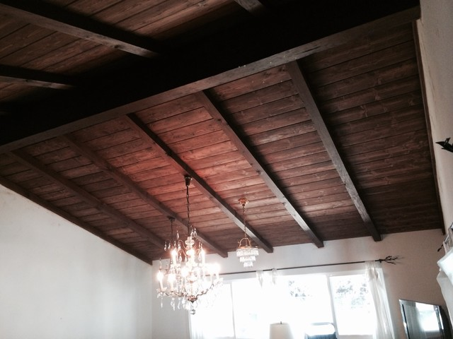 Tongue And Groove Ceiling Rustic Family Room Los