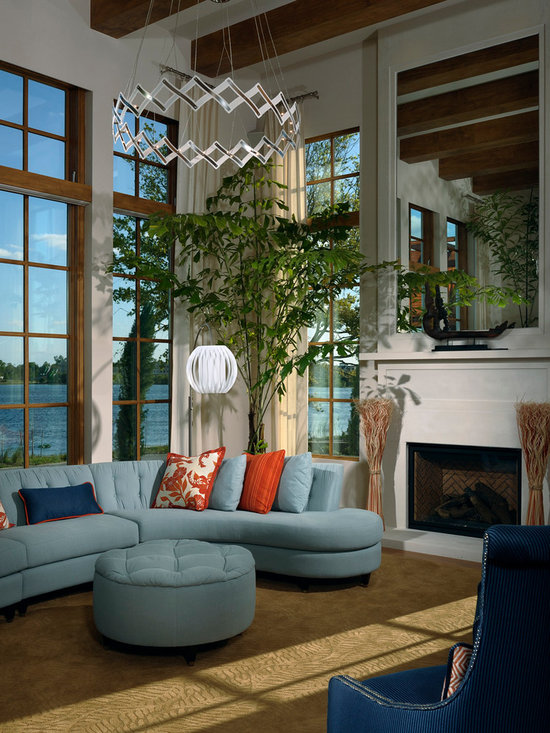 Contemporary Modern Navy Blue Sectional Sofa Family Room