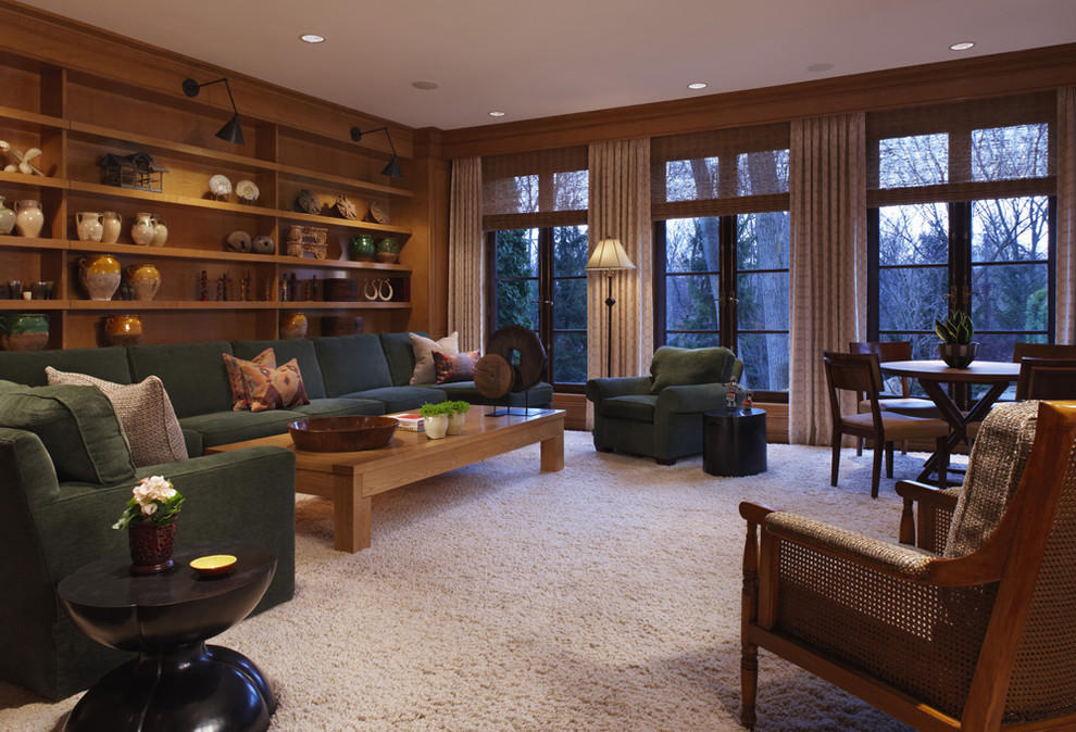 Family room - traditional family room idea in Detroit