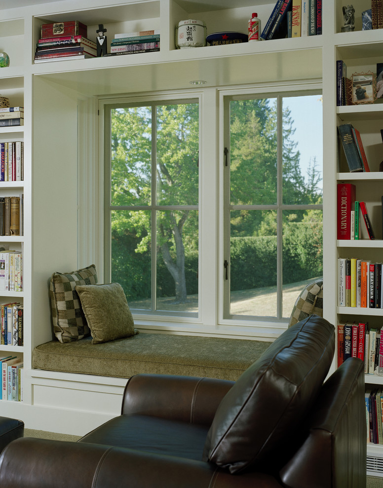 Inspiration for a timeless family room library remodel in Seattle