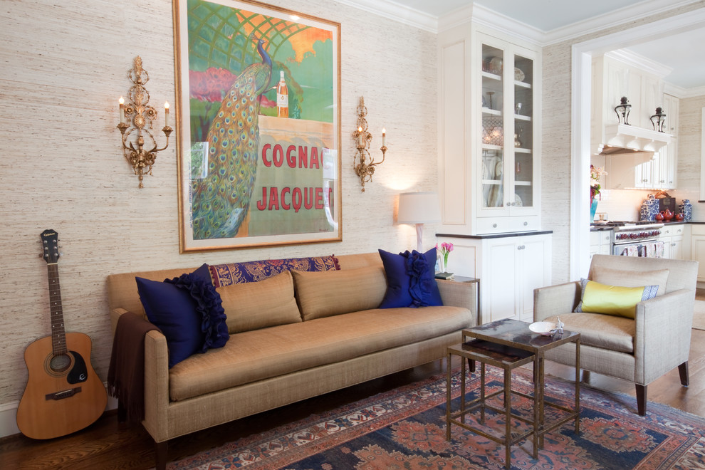 Inspiration for a timeless open concept family room remodel in Other with beige walls