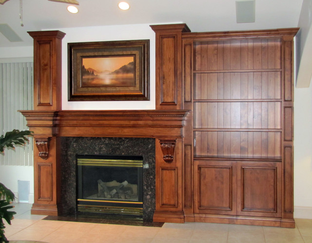 Custom Fireplace Mantel and Bookcase - Traditional - Family Room ...