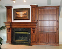 Custom Fireplace Mantel and Bookcase traditional family room