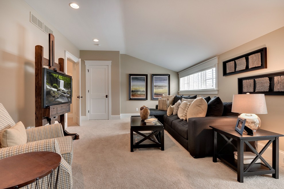 Example of a classic family room design in Minneapolis with beige walls