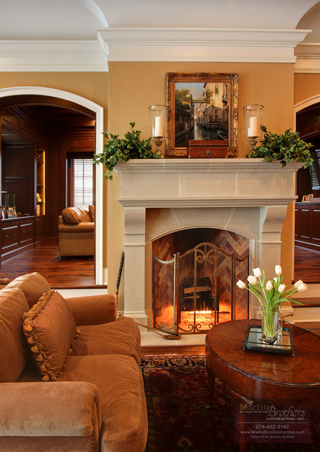 Great Room Fireplace Traditional Living Room Chicago