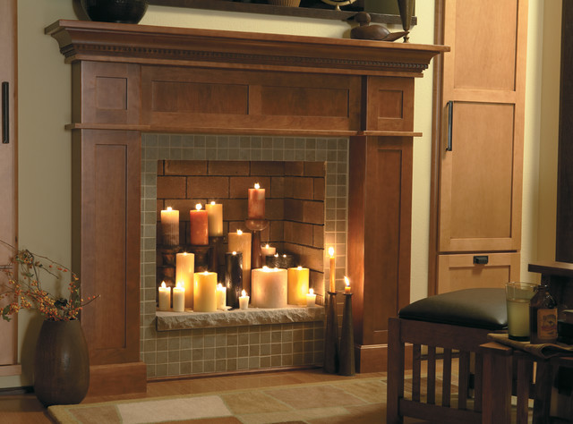 Traditional family room Fireplace ideas no fire