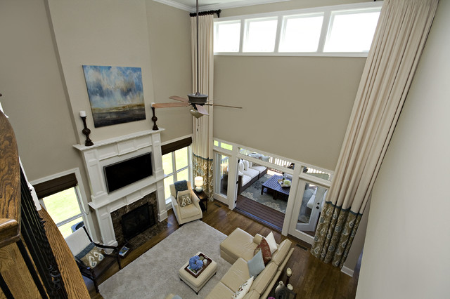 Two Story Custom Drapes Traditional Family Room Raleigh By Driggs Designs