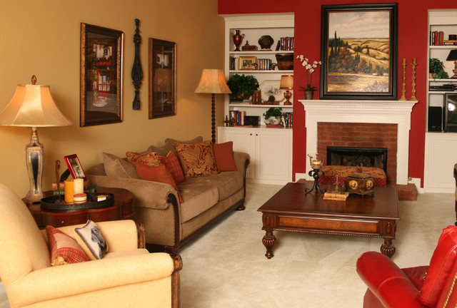 Open Family Room & Breakfast Area in Bold Colors traditional family room