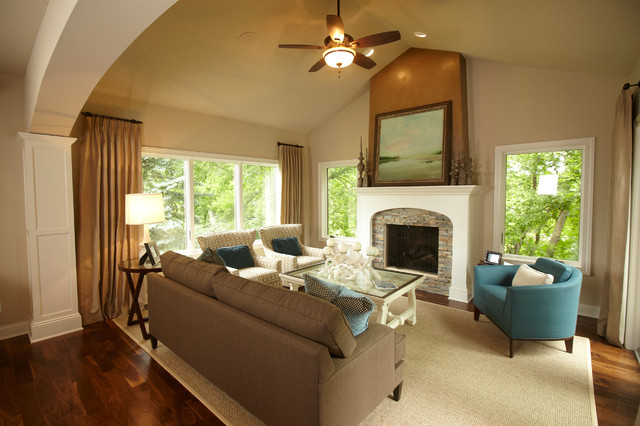 Elegant Family Room Photo In Minneapolis With Beige Walls