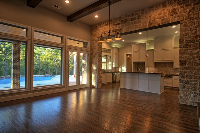 Example of a transitional family room design in Dallas