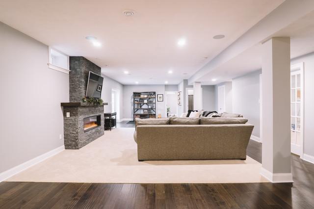 basement transitional family room - photo #35