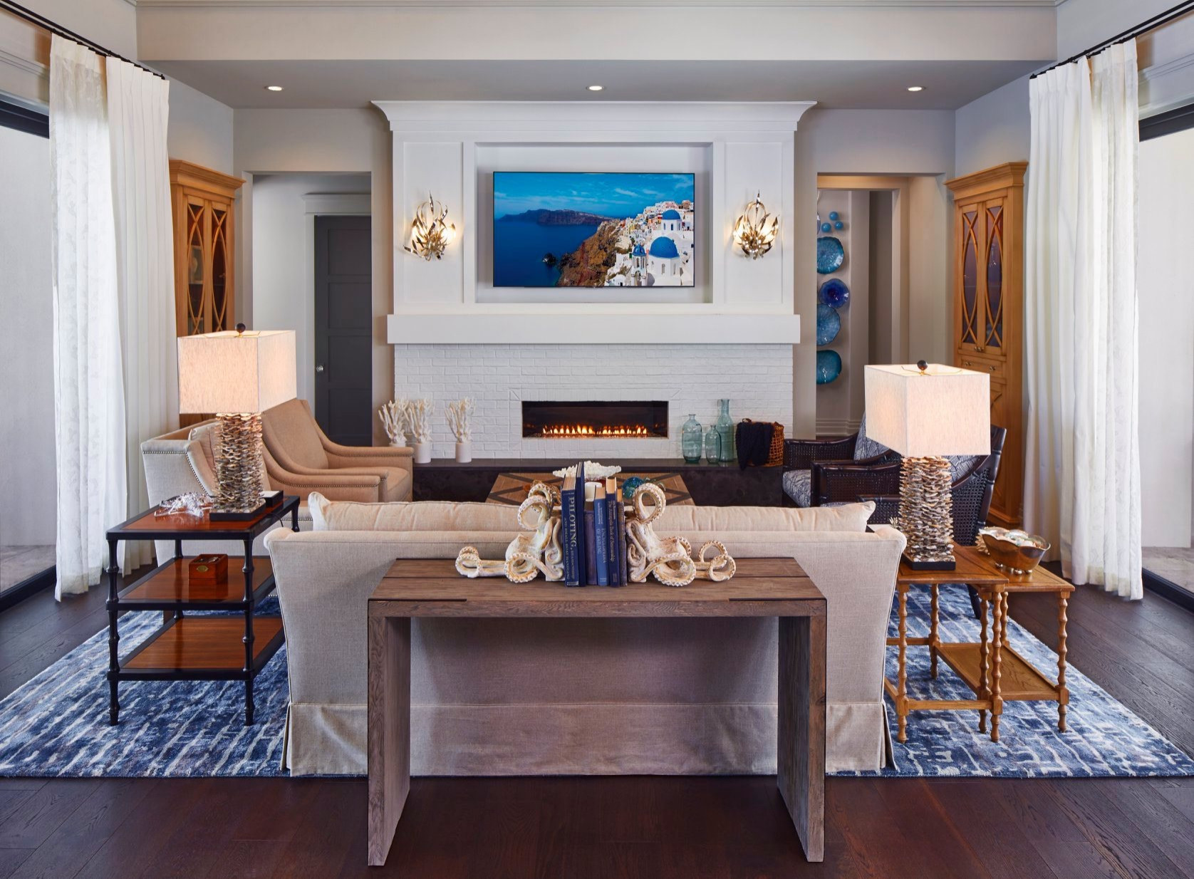 Living Room, entertainment room, library cabinetry by Amoroso Cabinets
