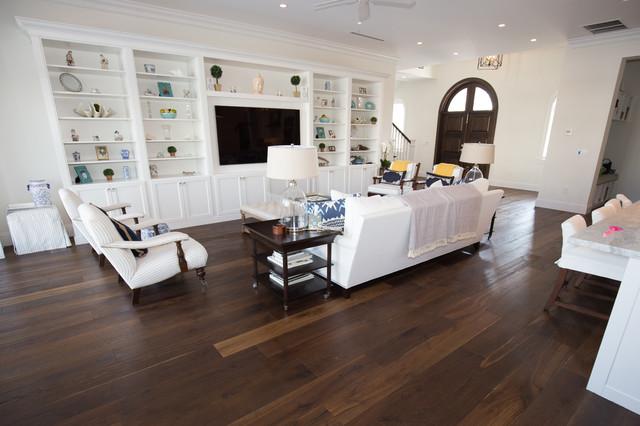 Family Room Large Transitional Open Concept Medium Tone Wood Floor Idea In Miami