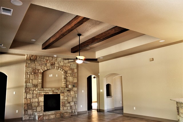 Tray Ceiling With Faux Wood Beams