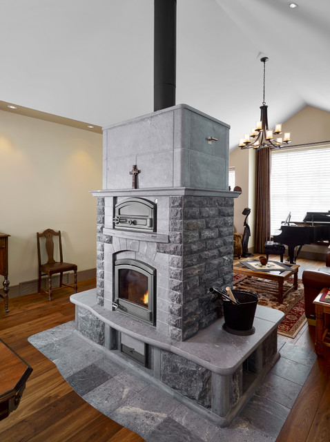 Tulikivi Soapstone Fireplace Traditional Family Room