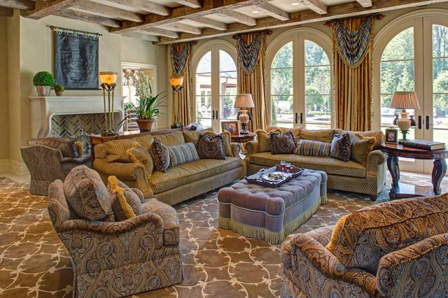 Tuscan elegance mediterranean family room dc metro for Distinctive interior designs
