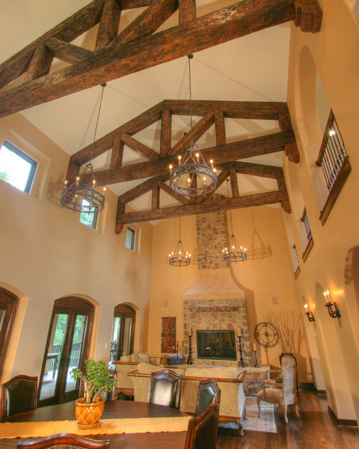 Tuscan inspiration family room and dining area rustic for Rustic dining area
