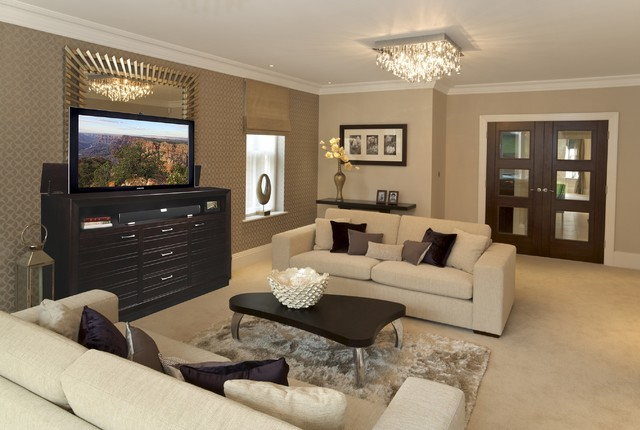 TV Lift Cabinets In Homes Traditional Family Room