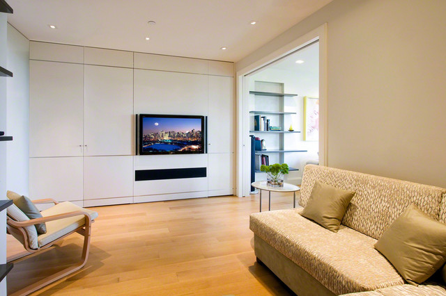 TV with Built-In Cabinet and Soundbar contemporary-family-room