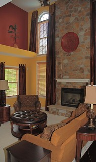Two Story Family Room eclectic family room