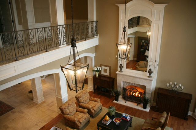 Two story great room for Great room designs with fireplace