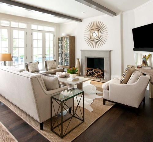 Design For Living Room With Open Kitchen Houzz Home Design: Cowhides Layered Over Natural Fiber Rugs