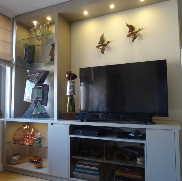 Upper east side installations contemporary family room for Gothic cabinet craft new york ny