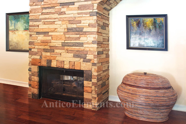 Stone Fireplace Designs And Remodel Antico Elements Blog: Upstairs Faux Stone Fireplace