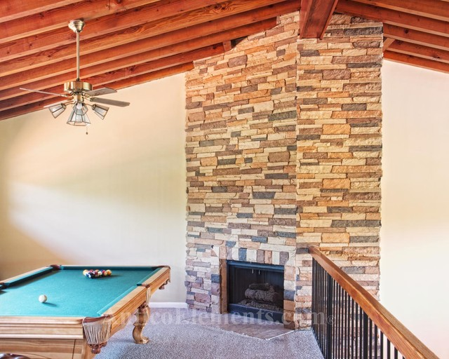 Upstairs Faux Stone Fireplace Eclectic Family Room