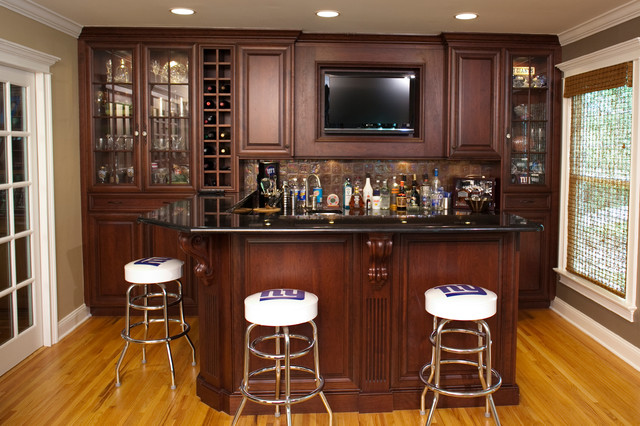 Upstairs wet bar traditional family room other metro for Wet bar in living room