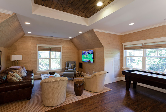 Inspiration for a timeless dark wood floor family room remodel in Charlotte with beige walls and a wall-mounted tv