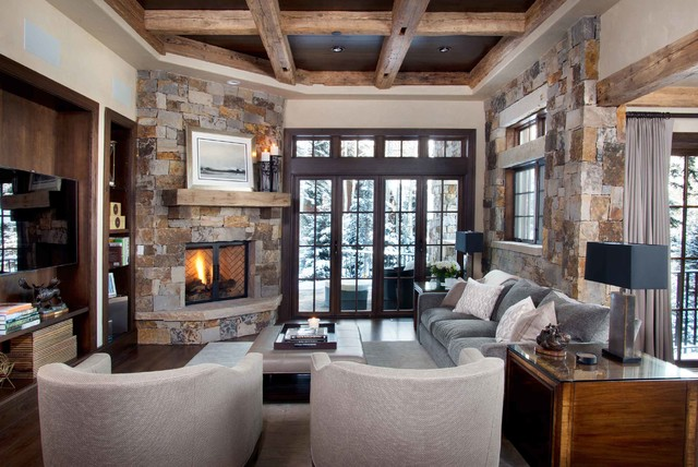 Vail Co Rustic Family Room Denver By Slifer Designs