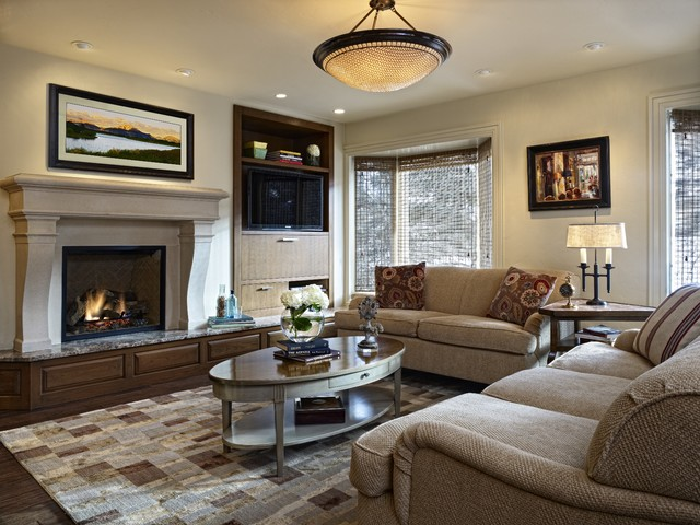 Vail village guest house traditional family room for Living room light fixtures