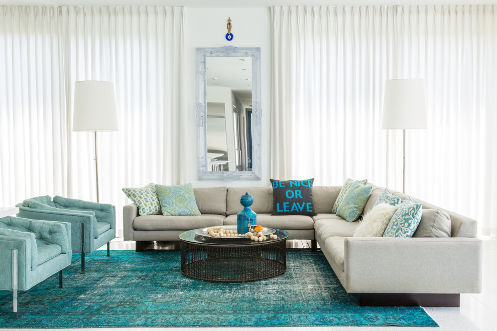 Family room - contemporary open concept family room idea in New Orleans with white walls