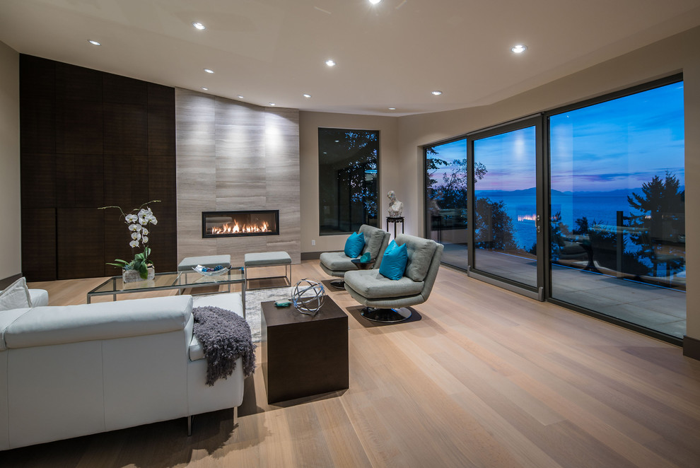 Inspiration for a contemporary family room remodel in Vancouver
