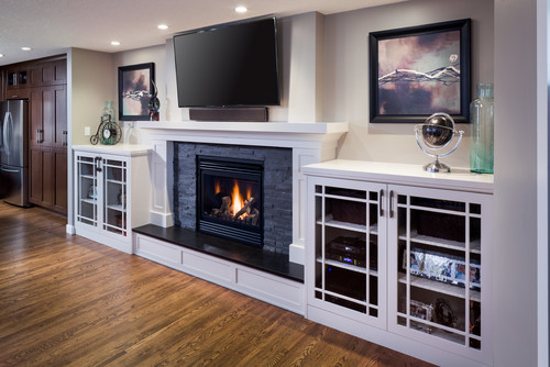 how are the cabinets on either side of the fireplace