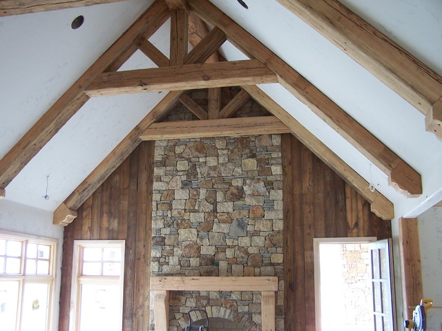 Vaulted Ceiling With Fireplace Mantel Farmhouse Family