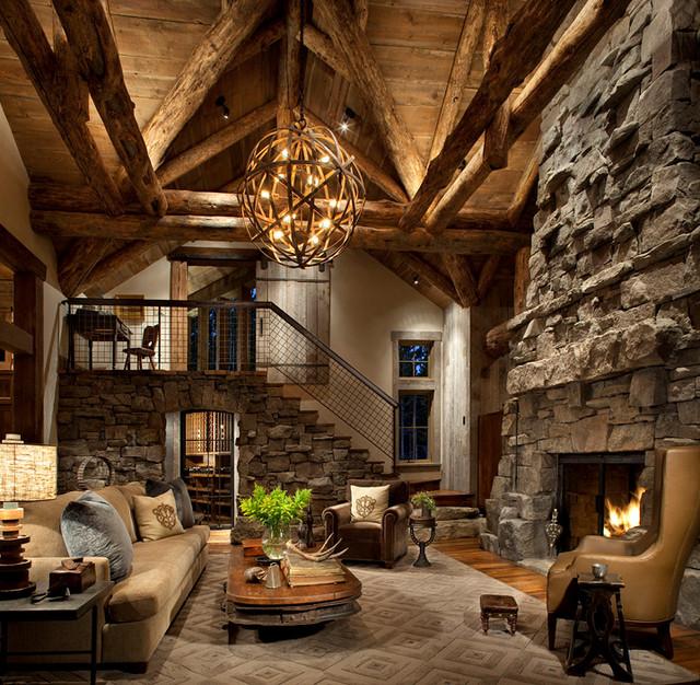 Rustikal wohnzimmer  Vaulted Great Room - Rustikal - Wohnzimmer - Denver - von Highline ...