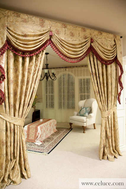 Versailles rose premium designer swag valances Luxury window treatments
