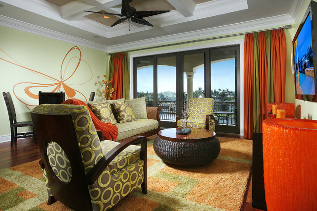 Vibrant & fresh family room tropical family room